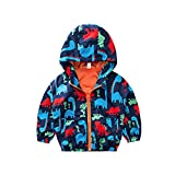 Baby Girls Boys Windproof Jacket Outwear Toddler Kids Dinosaur Cartoon Printed Coats Waterproof Windbreaker Snowsuit Autumn Winter Warm Waistcoat Clothes Outfits Tops Suit for 1-6 Years Orange