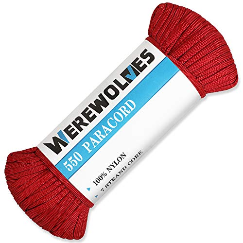 WEREWOLVES 550lb Paracord/Parachute Cord Type III 7 Strand  100% Nylon Core and Shell  Multiple Colors 100 Feet Red 50 feet