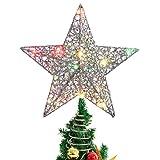 Stobok - Decorazione a forma di stella per la punta dell'albero di Natale, con luci colo...