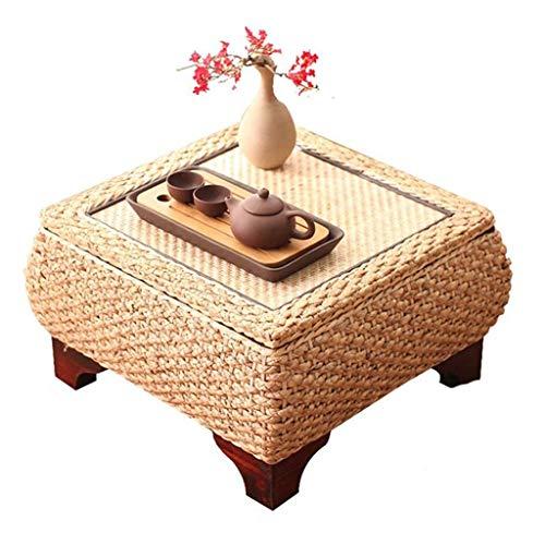 Mesa De Centro Rattan Mesa De Café Tatami Bahía Ventana De La Mesa del Ordenador Kinder Mesa Cuadrada Dormitorio Tocador (Color : Brown, Size : 60 * 40 * 30cm)