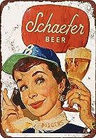 Schaefer cerveza y Brooklyn Dodgersdise 金属板ブリキ看板警告サイン注意サイン表示パネル情報サイン金属安全サイン