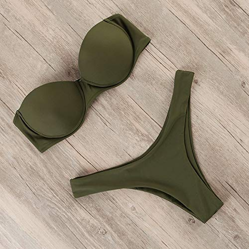 JINSUO Xiaobingjiaju Bikini Mujeres Traje de baño Leopardo brasileño Bikini Push Up Traje de baño Traje de Verano femenino ropa de Playa Biquini (Color : B1964AG, Size : China)