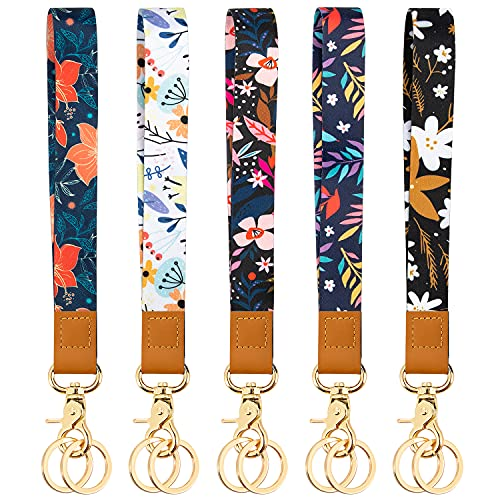 Wrist Lanyard Keychain for Women Kids Teacher, 5 Pack Cute Lanyards with 10 Keychain for Keys Wallet ID Badge Card Holder Flower Printed