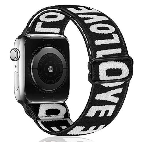 Zoholl - Pulsera elástica compatible con Apple Watch 38 mm 40 mm 42 mm 44 mm Cozy Soft Sport Elastic Stretch Mujeres Hombres Banda de repuesto Serie iwatch 1 2 3 4 5 6 Se Sport + Edition