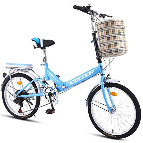 Hmvlw Bicicletas de montaña Ciudad Variable Bicicleta Plegable de la Velocidad Hombre Mujer Estudiante de educación Superior del Viajero al Aire Libre Deporte de la Bici con Cesta (Color : Blue)