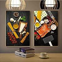 キャンバス絵画ポスタートマトとチーズのプリントのパスタ壁アート写真キッチンコーヒーショップ壁家の装飾-50x70cmx2フレームなし