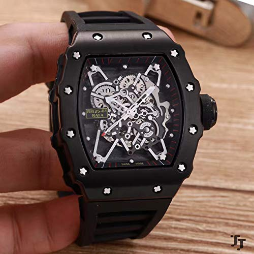 Luxury Men Watch Rubber Sapphire Stainless Steel Automatic Mechanical Full Black Tourbillion Skeleton Watches AAA Black