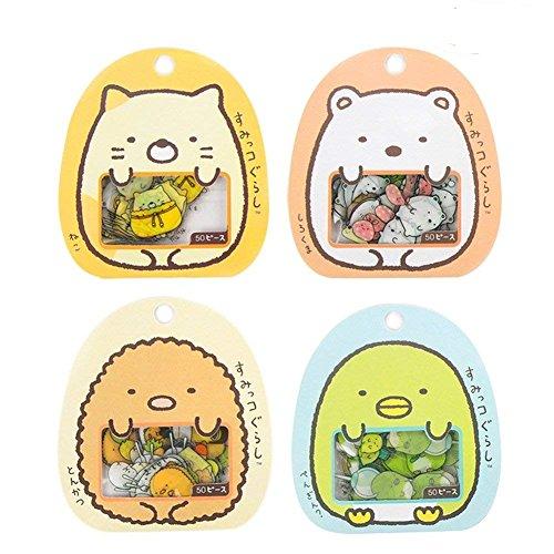 Aimeio Super Cute Cartoon Animals Transparent PVC Stickers for Diary Calendar Albums Decoration Scrapbook Planner Journal Child DIY Toy School Office Supplies,4 Pack,200 Pieces