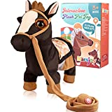 Black Walking Pony Toy Musical Singing Dancing Plush Interactive Pony Walk Along Toy Horse with Leash Pony Robot Plush Stuffed Animal Toy for Boys & Girls Kids or Toddlers H: 11.81