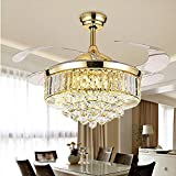 Panghuhu88 42'Invisible Ceiling Fan Chandelier with Light,Modern Crystal Ceiling Fan Light Remote Control 4 Retractable ABS Blades for Bedroom Living Room Dining Room Decoration
