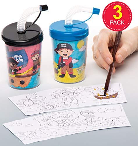 Baker Ross beker piraten om in te kleuren met flexibele rietjes (3-delige verpakking) voor het versieren en drinken voor kinderen. Perfect voor prijzen, geschenken of verjaardagspiratenfeestjes.