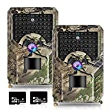OHMU 2 Packs Trail Camera,1080P Low Glow Night Vision Hunting Cameras with 120°Detecting Range Motion Activated for Wildlife Deer Game Trail
