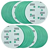 POLIWELL 5 Inch Sanding Discs 8 Holes 2000 Grit Wet Dry Film-Backed Green Line Hook and Loop...