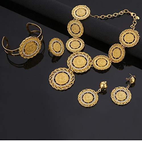 NCDFH Color Dorado Moneda Collar Pendientes Anillo Brazalete Turquía Árabe Turcos África Fiesta Conjuntos de Joyas