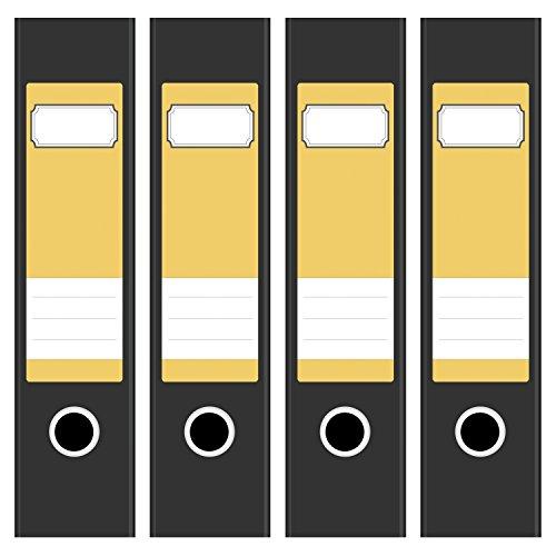 4 x farbige Akten-Ordner Etiketten/Aufkleber/Rücken Sticker/Farbe Gelb/für breite Ordner/selbstklebend / 6cm breit