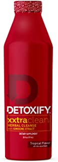Detoxify Xxtra Clean Herbal – Tropical Fruit Flavor- 20 oz | Professionally Formulated Extra Strength Herbal Detox Drink | Enhanced with Ginseng Extract & Milk Thistle Extract