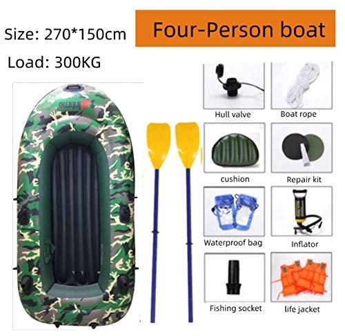 LaKoos Kayak Inflable 2.3m / 2.7m, Placa Inferior Inflable, 3 cámaras de Aire Independientes, Equipadas con Herramientas Especiales de reparación, Remo Remo-Camuflaje-2.3M