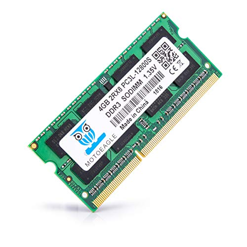 motoeagle 4GB DDR3L 1600 MHz PC3L-12800S SODIMM RAM 2Rx8 1.35V/1.5V CL11 204 Pin Non-ECC Unbuffered Laptop Memory Module for Mac, Intel and AMD