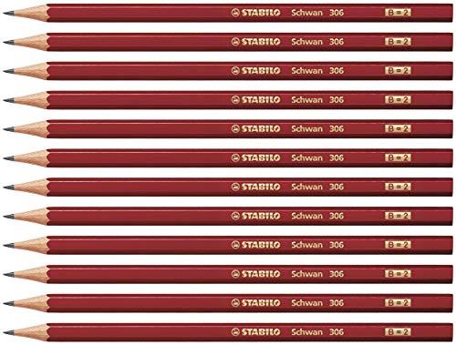 Bleistift - STABILO Schwan in rot - Härtegrad B - 12er Pack