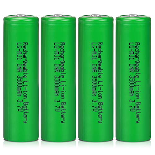 3.7V LG-MJ1 Rechargeable Batteries High Capacity 3500mAh 3.7 Volt Li-ion Battery, Veckuty 3.7v Lithium ion Button Top Batteries for Fan Flashlight Headlamp (4 Pack)
