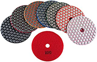 WEIERSHENG Dry Diamond Polishing Pads 4 Inch Premium Matte Grinding Pads for Concrete Marble Granite 7 PCS Grit 50-3000# (4inch,7pcs)
