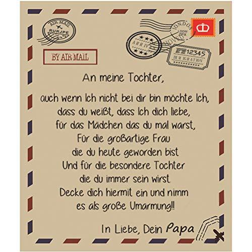 Message Decke Deutsche Alphabet Decke an Meinen Sohn und Meine Tochter,Personalisierte Design Vater Mutter Superweiche Decke der Eltern-Kind-Serie,Kuscheldecken Sofadecke, Kuscheldecke Babydecke