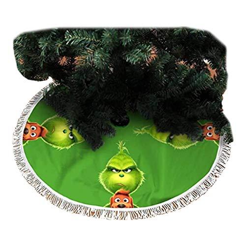 KIACIYA Weihnachtsbaum Decke, Grinch Hund Gedruckt Plüsch Weihnachtsbaum Rock Dekoration Weihnachtsbaumdecke Rund Weihnachtsbaum Röcke Weihnachtsschmuck Weihnachtsbaum Deko Weihnachtsdeko (1,90cm)