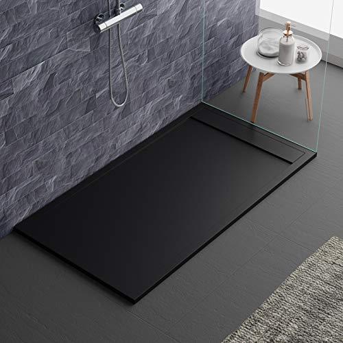 Duschwanne schwarz modernes Design Modell Sevilla aus Marmor und Harz in Schiefersteinoptik Luxury Gelcoat Slim 3cm, schwarz