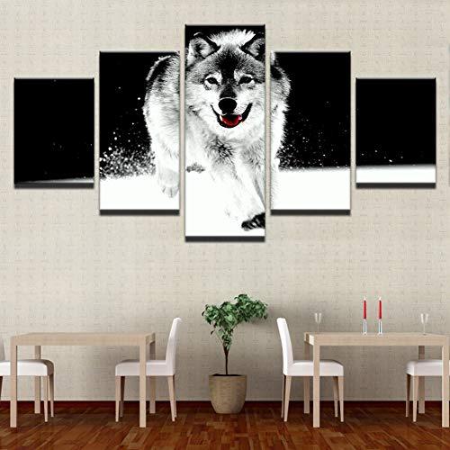 N / A 5 paneles de impresión de pintura de pared Art Poster decorativo ilustraciones cuadro lienzo 5 paneles Animal Lobo moderno sala de estar