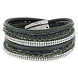 StarAppeal Armband Wickelarmband mit Strass und Flechtelement, Magnetverschluss Silber Glanz, Damen Armband (Grün)
