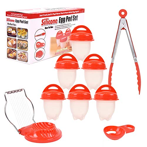 Silicone Egg Pod Set with 6 Pods, Tongs set, Yolk Divider, and Egg Slicer