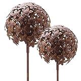 Glücksgriff Dekor | Allium Gartenstecker | 16x16cm & 20x20cm | 2er Set | Rost Metall | Gartendeko | Rankhilfe