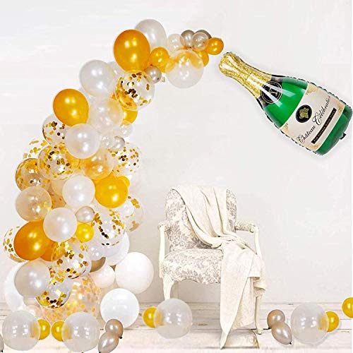 GuassLee 97Pcs Champagne Balloon Arch Garland Kit - 40 Inch Giant Champagne Balloons and Gold Confetti balloons Clear Silver Balloons for New Year Party Wedding Birthday Graduation