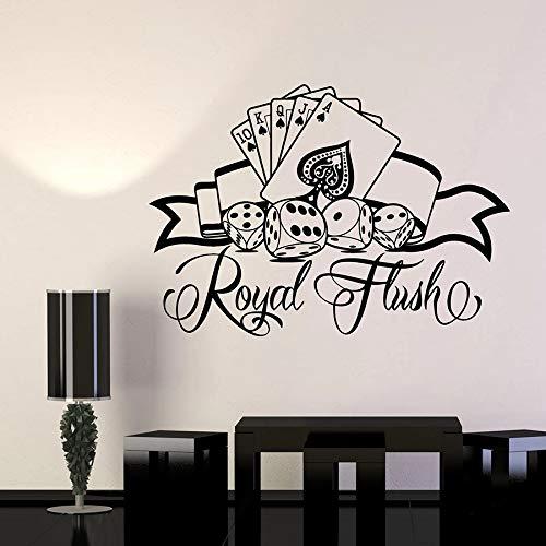 yaonuli Sticker Mural Casino Logo Carte Poker dés Vinyle Autocollant Jouer Club décoration Murale Amovible 36X50 cm