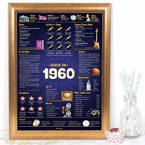 The Original Back in 1960 Poster UK (40x59.4cm Unframed) in Elegant Gift Tube Happy 60th Diamond...
