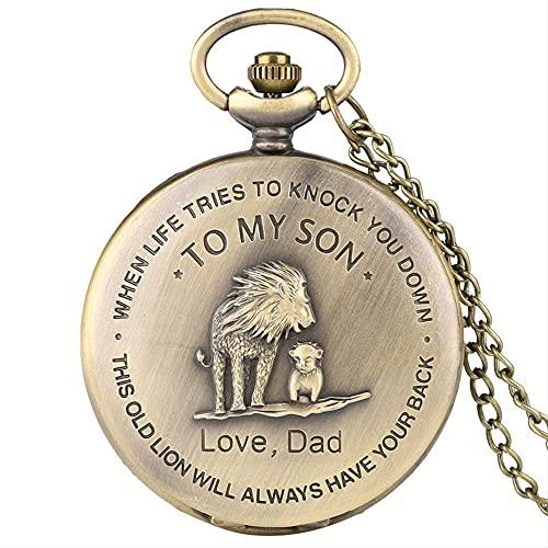 ERZHUI To My Son Theme Reloj de Bolsillo Collar de Bronce Cadena Regalos para niños Cubierta de diseño de león Reloj Colgante Vintage Regalos para niños