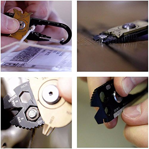 FIXR Multi-Purpose Gadget 20 in 1 Mini Portable Keychain Keychain for Camping Hiking Cycling