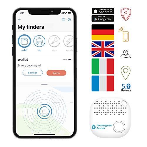 musegear Schlüsselfinder mit Bluetooth App NF I Keyfinder laut für Handy in weiß I GPS Ortung/Kopplung I Schlüssel Finden