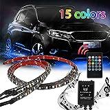 Nosii LED Kit Luce Auto RGB 4 Striscia Sotto Auto Sotto La Luce Sotto Il Bagliore Sottoscocca Sistema Piede Pozzo Luce Striscia