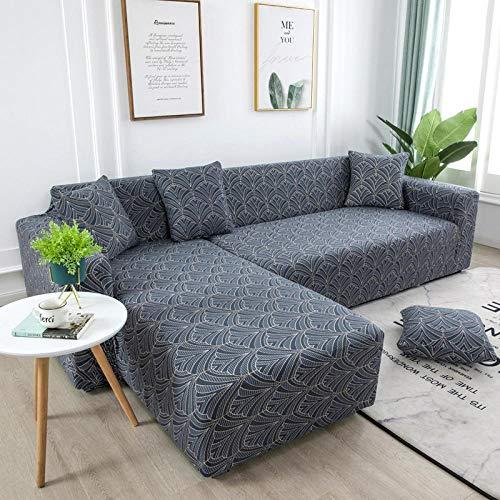 BSZHCT Funda Elástica de Sofá Cola de Pavo Real Funda Estampada para sofá Gris 3 Plazas Antideslizante Protector Cubierta de Muebles Cubierta de sofá seccional (195-230cm)