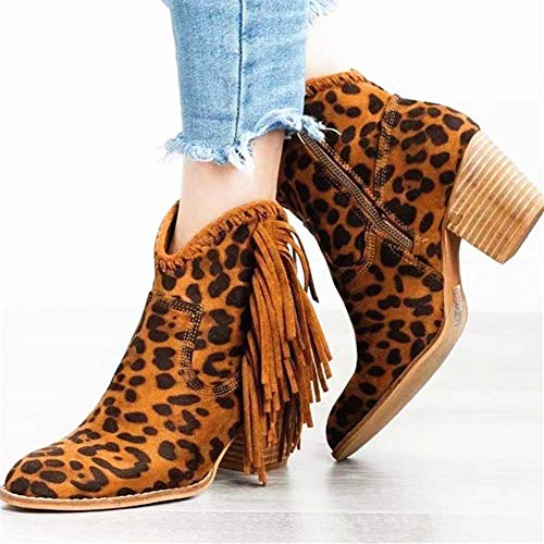 LRZ Botas Con Flecos Botas Martin Botas De Tacon Alto Botines Con Cremallera Dedo Del Pie Puntiagudo Adulto Zapatos De Mujer,A,40