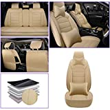 para Audi Q7 Q3 Q5 A7 A4 A6 Seden A3 Seden Delanteros Fundas para Asientos de Coche Juegos de Cubreasientos Compatible con 95% de Automóviles Beige Lujo A
