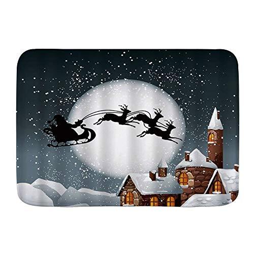 MANISENG Badematte Bad Teppiche, Nacht Weihnachtsmann Schlitten Schornstein Splitter Schneeflocke Frohe Weihnachten Winter Hirsch Urlaub Kinder Lebkuchenhaus,mit Rutschfester Rückseite, 29,5'x 17,5'