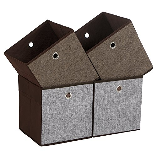 SONGMICS Linenette Storage Cubes, Foldable Clothing Storage Boxes and Bins for Home Closet and Toys Organizer, Grey, Brown and Coffee Colors on Different Sides, Set of 4, UROB26CG