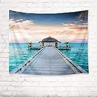 JOOCAR 海のタペストリー木製の橋と海の水のパビリオン家の装飾アートタペストリー