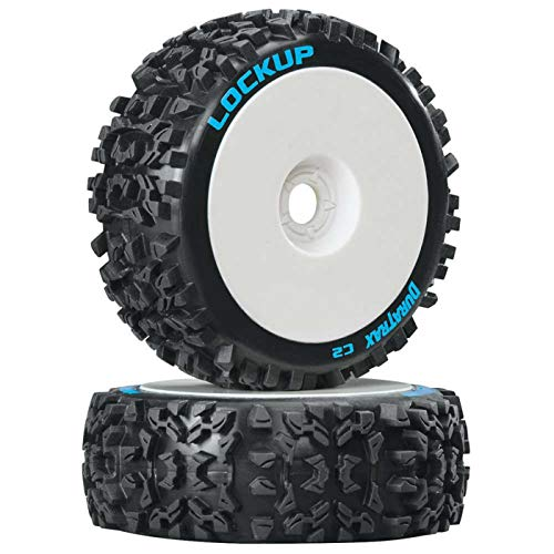 Duratrax Lockup 1/8 C2 Mounted Buggy Tires, White (2)