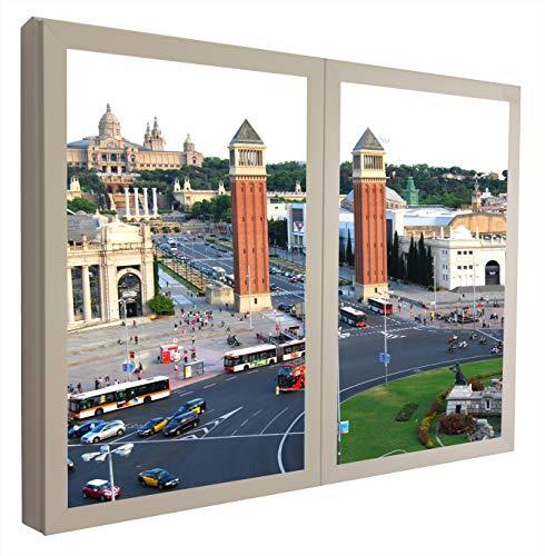 CCRETROILUMINADOS Montjuic Barcelona Cuadros Ventanas Falsas Retroiluminadas, Madera, Blanco, 80 X 80 X 6.5