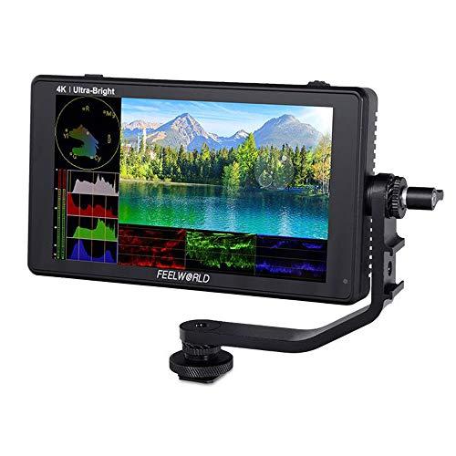Feelworld LUT6s Monitor de campo de pantalla táctil de 6 pulgadas Utra brillo 2600nits DSLR Cámara Monitor con HDR/3D Lut Waveform Histograma,3G-SDI 4K HDMI Salida de entrada