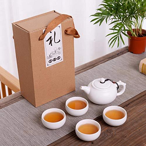 Set da tè in ceramica smaltata opaca Ding set da tè regali promozionali per le vacanze set da tè LOGO personalizzato venderà piccoli regali-Una pentola e quattro tazze-pentola del drago-bianco