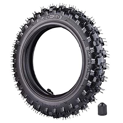 "2.50x10"" Knobby Tyre 2.5-10 Front or Rear Tire with TR87 Inner Tube for Off Road Motorcycle Motocross Mini Dirt Bike XR50 CRF50 PW50 SDG107 50SX Morini Razor SX500"
